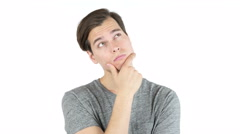 Handsome young man thinking . thoughtful , new idea - stock footage