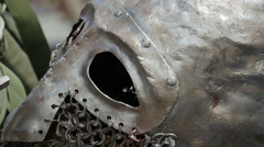 Steel helmet. Close up. - stock footage