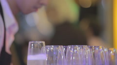 Close up coctail party wine champagne - stock footage