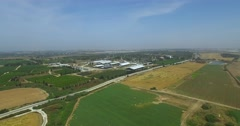 Aerial Shot of Agricultural area Stock Footage