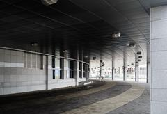 Minsk-Arena - colonnade and paving slabs - stock photo