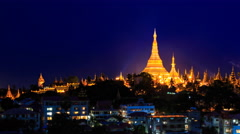 Shwedagon Pagoda Above Yangon Cityscape Day To Night Time Lapse Of Myanmar Stock Footage