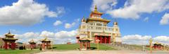 Clouds over the Buddhist temple. Golden Abode of Buddha Shakyamuni in Elista, Stock Photos