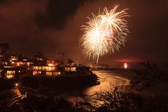 Laguna Beach fireworks - stock photo