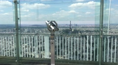 Telescope In Panoramic Observation Deck In Paris, 4K Stock Footage