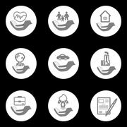Vector insurance icons set - stock illustration