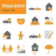 Insurance icons set Stock Illustration