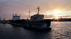 Sunset With Icebreakers Moored In Center Of Saint-Petersburg City Stock Footage