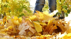 little boy kicking a bunch of yellow fallen leaves in autumn park, slow motion 1 - stock footage