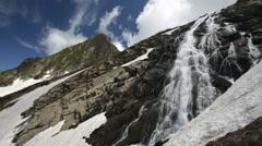 Krasnaya Polyana - Mountain Black Pyramid and waterfall Bear Stock Footage