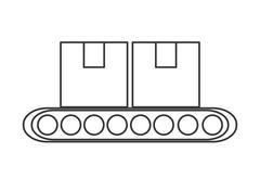 Conveyor belt factory industry icon Stock Illustration