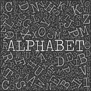 Alphabet theme with letter pattern on the background Stock Illustration