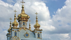 Church of the Holy apostles Peter and Paul in Peterhof, Russia Stock Footage