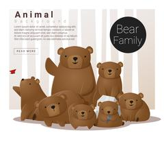 Cute animal family background with Bears Stock Illustration