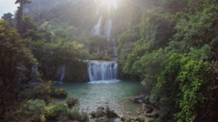 Jungle waterfall aerial Thailand Stock Footage