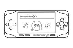 mobile video game icon line design - stock illustration