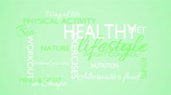 Healthy lifestyle word tag cloud animation, green background Stock Footage