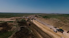 Construction of Highways. Aerial view Stock Footage