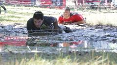 Extreme sport challenge wires men Stock Footage