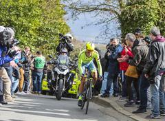 Conflans-Sainte-Honorine,France-March 6,2016: The Cyclist Alberto Contador - stock photo