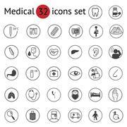 Flat medical icons set Stock Illustration