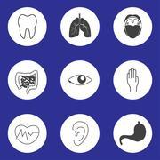 Icons of human organs Stock Illustration