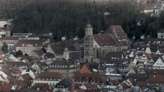Schwaebisch Hall medieval town in winter sun moving in Stock Footage