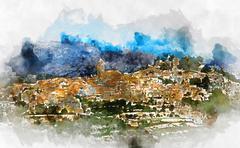 Polop de la Marina village. Spain - stock illustration