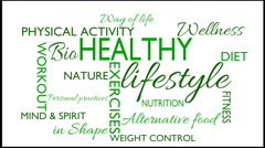 Healthy lifestyle word tag cloud animation, red text on white background Stock Footage