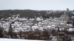 Schwaebisch Hall medieval town snowy setting Stock Footage