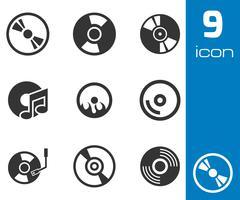 Vector black CD disk icons set Stock Illustration