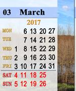 Calendar for March 2017 with trees in the spring Stock Illustration