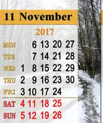 calendar for November 2017 with puddles and snow - stock illustration