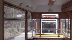 The second car's frontal platform from inside during a ride Stock Footage