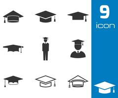 Vector black academic cap icons set Stock Illustration