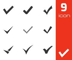 Vector black confirm icons set Stock Illustration