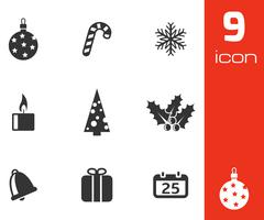 Vector black cristmas icons set Stock Illustration