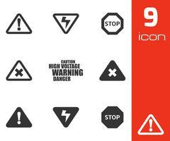 Vector black danger icons set - stock illustration