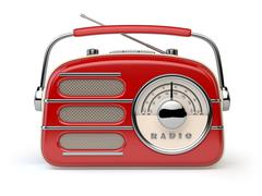 Red vintage retro radio receiver isolated on white. Stock Illustration