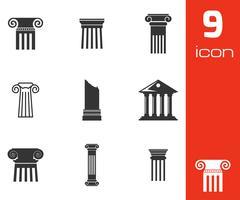 Vector black column icons set Stock Illustration