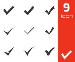 Vector black confirm icons set - stock illustration