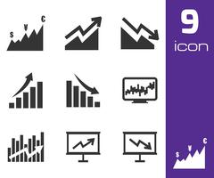 Vector black economic icons set - stock illustration