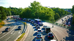 Urban City Traffic Jam Rush Hour at Middle Ring Munich Germany Europe Stock Footage