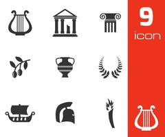 Vector black greece icons set Stock Illustration