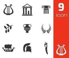 Vector black greece icons set Piirros