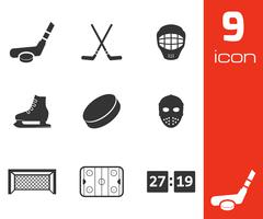 Vector black hockey icons set - stock illustration