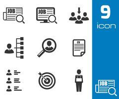 Vector black job search icons set - stock illustration