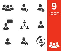 Vector black office people icons set Stock Illustration