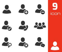 Vector black people icons set Stock Illustration