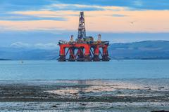 Semi Submersible Oil Rig at Cromarty Firth in Invergordon, Scotland Stock Photos